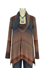 Sabra Cowl Neck Nursing Sweater (Rust Mason Print) by Maternal America