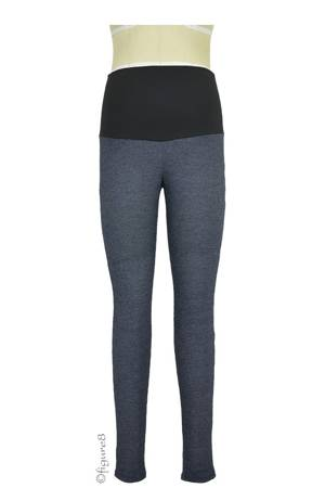 Belly Support Maternity Leggings (Black Denim Jersey) by Maternal America