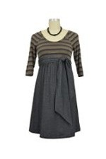 MA Scoop Neck Front Tie Maternity Dress (Stripes/Black Jersey Denim) by Maternal America