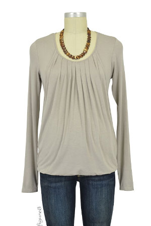Sabina Long Sleeve Pleated Nursing Top (Light Taupe) by MEV