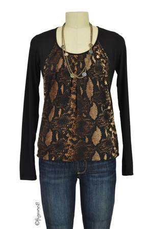 Sabina Long Sleeve Pleated Nursing Top (Brown Snakeskin Print) by MEV