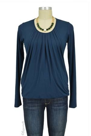 Sabina Long Sleeve Pleated Nursing Top (Mood Indigo) by MEV