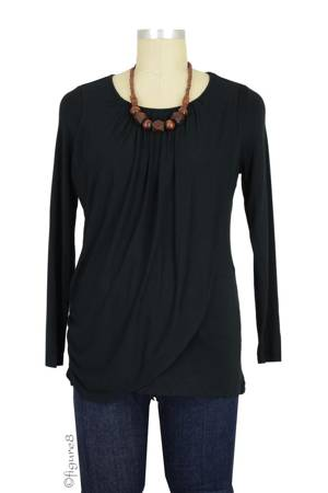 Athena Drape Nursing Top (Black) by MEV