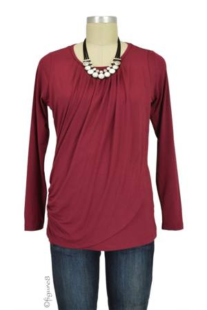 Athena Drape Nursing Top (Deep Cabernet) by MEV