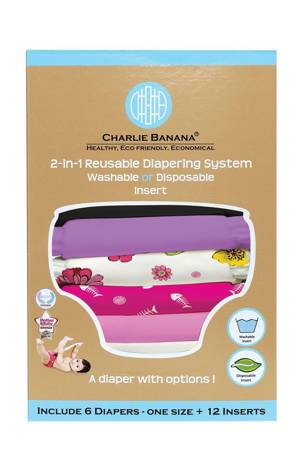 Charlie Banana® 2-in-1 Reusable Diapers - 6 Pack (Sassy) by Charlie Banana