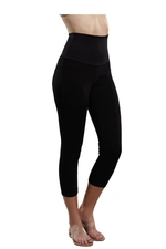 Tummy Tuck Crop Leggings (Black) by Maternal America