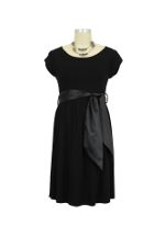 MA Scoop Neck Satin Front Tie Maternity Dress by Maternal America