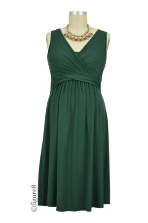 Ava Sleeveless Wrap Nursing Dress (Myrtle Green) by MEV