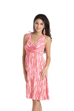 Ava Sleeveless Wrap Nursing Dress (Coral Print) by MEV