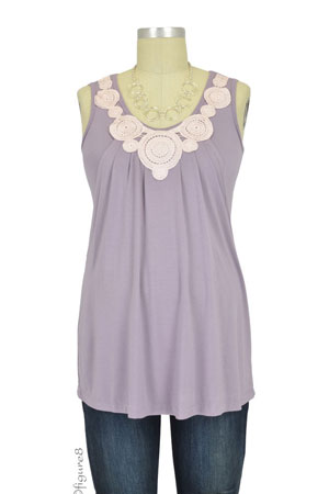 Hannah Bamboo Lace Applique Nursing Top (French Lilac) by MEV