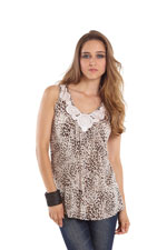 Hannah Bamboo Lace Applique Nursing Top (Leopard Print) by MEV