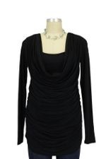 Mandy Cowl Neck Nursing Top (Black) by Olian