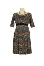 Zig Zag D&A Cowl Neck Nursing Dress (Zig Zag Print) by Japanese Weekend