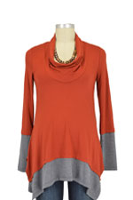 Penelope Nursing Top (Rust/Heather Charcoal) by Maternal America