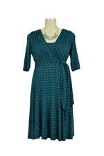 Natasha Front Tie Nursing Dress (Aqua Print) by Maternal America