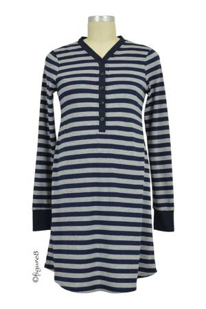 Stripes Long Sleeve Nursing Nightdress (Navy Stripes) by Annee Matthew