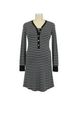 Stripes Long Sleeve Nursing Nightdress (Black Stripes) by Annee Matthew