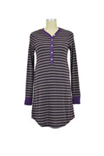 Stripes Long Sleeve Nursing Nightdress (Eggplant Stripes) by Annee Matthew
