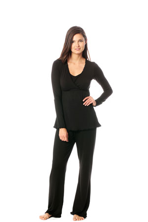 Majamas Margo Nursing PJ Set (Black with Black Lace) by Majamas