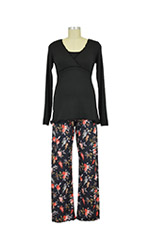 Majamas Margo Nursing PJ Set (Black Top/Fall Sprigs) by Majamas