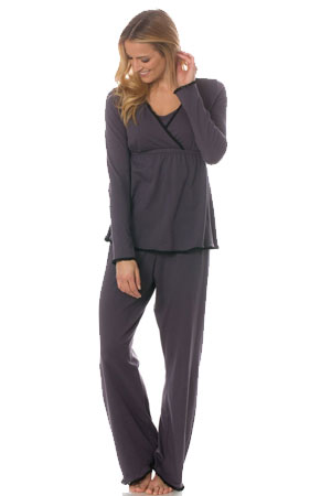 Majamas Margo Nursing PJ Set (Cinder with Black Lace) by Majamas