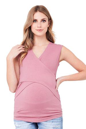 083474501e0 Embrace Sleeveless Cross Front Maternity   Nursing Tank (Rose) by Ripe  Maternity