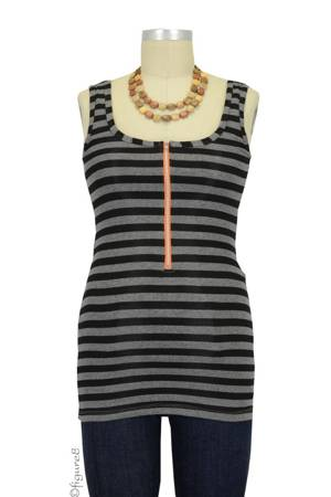 Molly Ades Zippered Nursing Tank (Black & Charcoal Stripes) by Molly Ades