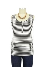 NOM Ruched Snap Nursing Tank (Black Stripe) by NOM