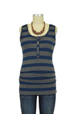NOM Ruched Snap Nursing Tank (Navy Stripes) by NOM
