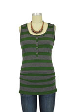 NOM Ruched Snap Nursing Tank (Hunter Stripe) by NOM