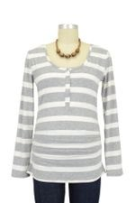 Nom Ruched Long Sleeve Snap Nursing Top by NOM
