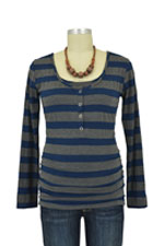 Nom Ruched Long Sleeve Snap Nursing Top (Navy Stripes) by NOM