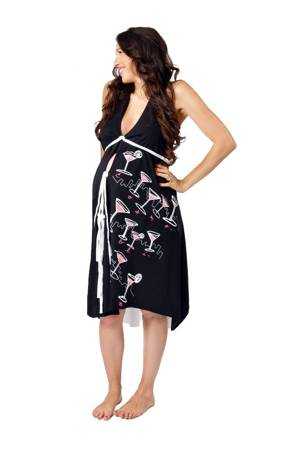 Pretty Pushers 'I Dream of Cosmos' Women's Cotton Labor Gown (Black & White) by Pretty Pushers