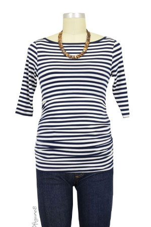 Baju Mama Audrey 3/4 Sleeve Boatneck Nursing Top (Navy & White Stripes) by Baju Mama