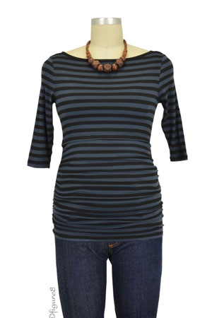 Baju Mama Audrey 3/4 Sleeve Boatneck Nursing Top (Charcoal/Black Stripe) by Baju Mama