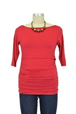 Baju Mama Audrey 3/4 Sleeve Boatneck Nursing Top (Ruby Red) by Baju Mama
