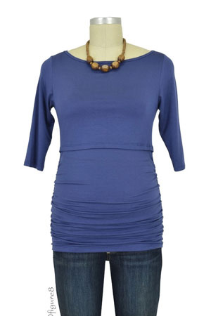 Baju Mama Audrey 3/4 Sleeve Boatneck Nursing Top (Blueberry) by Baju Mama
