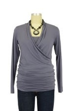Baju Mama Isabella Nursing Top - Long Sleeve (Purple Grey) by Baju Mama