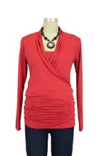 Baju Mama Isabella Nursing Top - Long Sleeve (Ruby Red) by Baju Mama
