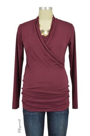 Baju Mama Isabella Nursing Top - Long Sleeve (Merlot) by Baju Mama