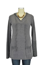 Riley Nursing Hoodie (Heather Charcoal with Stripes) by Annee Matthew