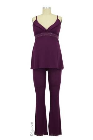 Collette Nursing Cami & Loungepant (Eggplant) by Belabumbum