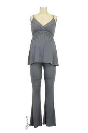 Belabumbum Collette Nursing Cami & Loungepant (Gunmetal) by Belabumbum