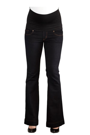Belly Support Boot Cut Maternity Jeans (Black) by Maternal America