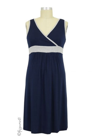 Baju Mama Jane Modal Nursing Chemise (Navy/Heather Grey) by Baju Mama