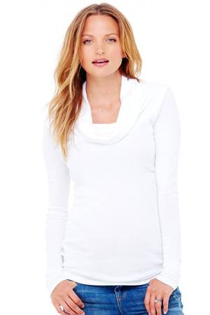 Ingrid & Isabel Long Sleeve Cowl Neck Maternity Tee (Bright White) by Ingrid & Isabel