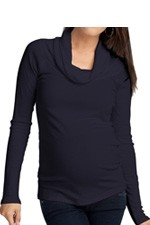 Ingrid & Isabel Long Sleeve Cowl Neck Maternity Tee (Blueberry) by Ingrid & Isabel