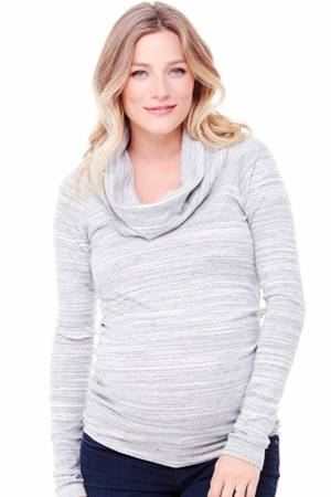 Ingrid & Isabel Long Sleeve Cowl Neck Maternity Tee (Grey Swept Marble) by Ingrid & Isabel