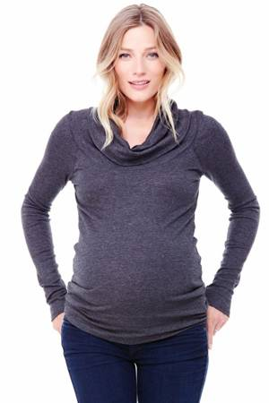 Ingrid & Isabel Long Sleeve Cowl Neck Maternity Tee (Dark Heather Grey) by Ingrid & Isabel