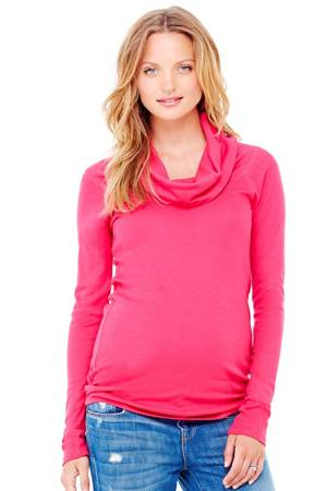 Ingrid & Isabel Long Sleeve Cowl Neck Maternity Tee (Berry) by Ingrid & Isabel